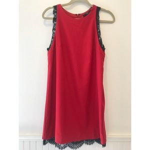 Red Shift Dress with Black Lace Detail